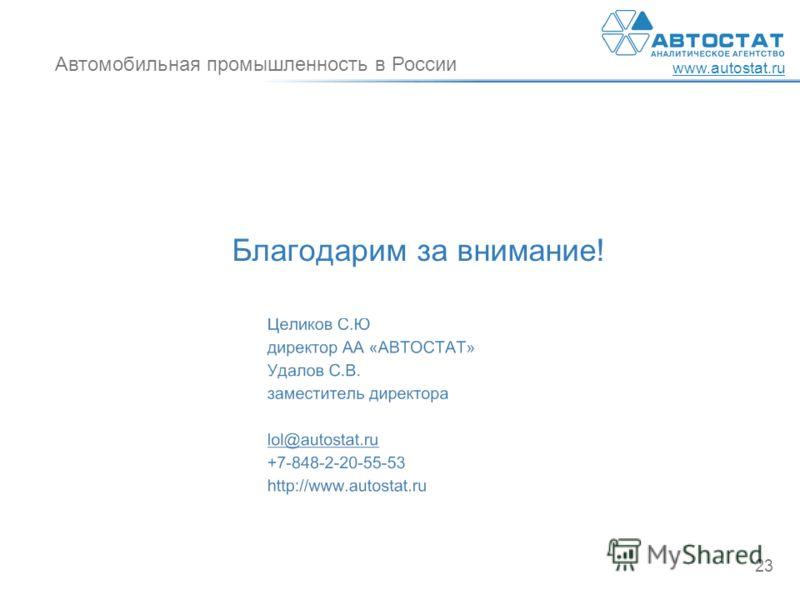 Автомобильная промышленность в России www.autostat.ru 23 Благодарим за внимание!