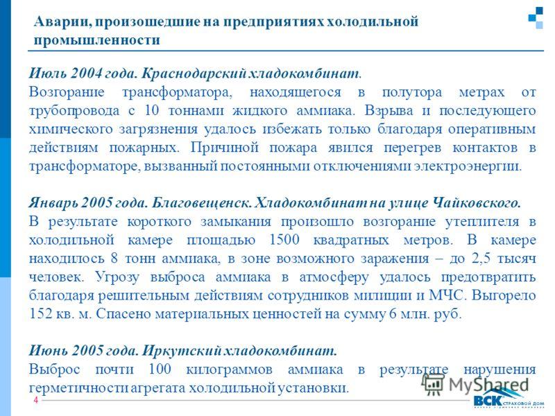 4 Аварии, произошедшие на предприятиях холодильной промышленности Июль 2004 года. Краснодарский хладокомбинат. Возгорание трансформатора, находящегося в полутора метрах от трубопровода с 10 тоннами жидкого аммиака. Взрыва и последующего химического з
