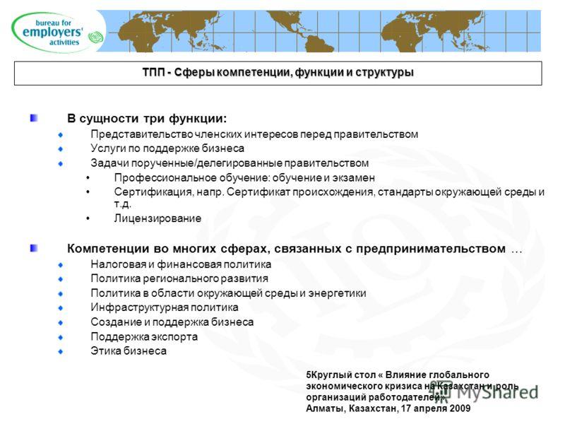 5Круглый стол « Влияние глобального экономического кризиса на Казахстан и роль организаций работодателей» Алматы, Казахстан, 17 апреля 2009 ТПП - Сферы компетенции, функции и структуры В сущности три функции: Представительство членских интересов пере