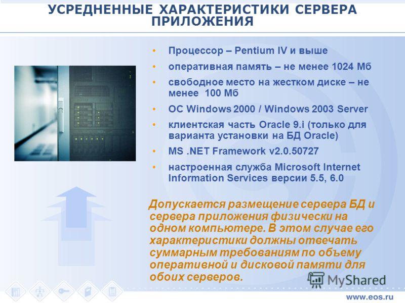 УСРЕДНЕННЫЕ ХАРАКТЕРИСТИКИ СЕРВЕРА ПРИЛОЖЕНИЯ Процессор – Pentium IV и выше оперативная память – не менее 1024 Мб свободное место на жестком диске – не менее 100 Мб ОС Windows 2000 / Windows 2003 Server клиентская часть Oracle 9.i (только для вариант