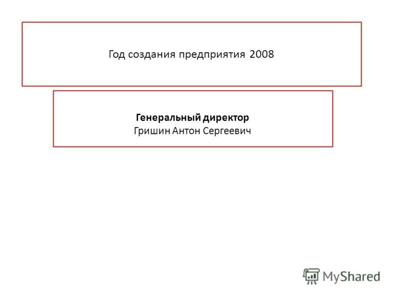 Год создания предприятия 2008 Генеральный директор Гришин Антон Сергеевич