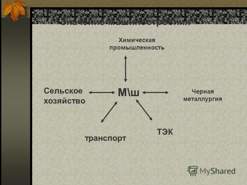 Значение машиностроения М\ш Химическая промышленность Черная металлургия Сельское хозяйство транспорт ТЭК