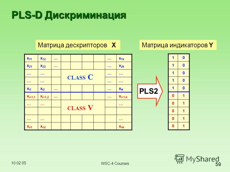 10.02.05 59 WSC-4 Courses x 11 x 12 ……x 1k x 21 x 22 ……x 2k ………… ………… x i1 x i2 ……x ik x i+1,1 x i+1,2 ……x i+1,k ……… ……… x n1 x n2 x nk 10 10 10 10 10 01 01 01 01 01 Матрица дескрипторов X CLASS C CLASS V PLS-D Дискриминация PLS2 Матрица индикаторов