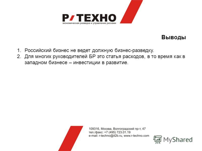 Выводы 1.Российский бизнес не ведет должную бизнес-разведку. 2.Для многих руководителей БР это статья расходов, в то время как в западном бизнесе – инвестиции в развитие.