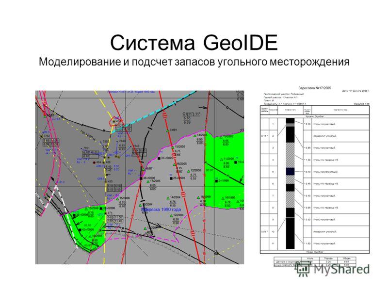 Система GeoIDE Моделирование и подсчет запасов угольного месторождения