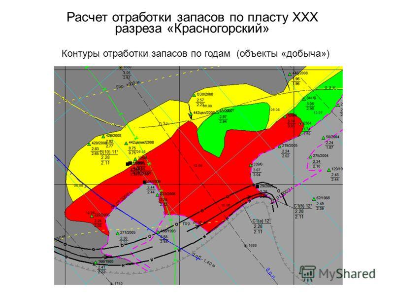 Расчет отработки запасов по пласту XXX разреза «Красногорский» Контуры отработки запасов по годам (объекты «добыча»)