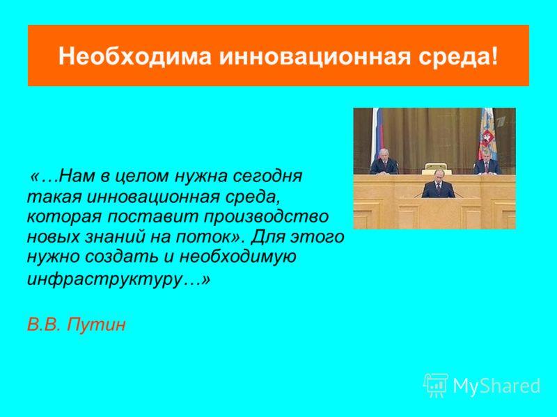 Необходима инновационная среда! «…Нам в целом нужна сегодня такая инновационная среда, которая поставит производство новых знаний на поток». Для этого нужно создать и необходимую инфраструктуру…» В.В. Путин