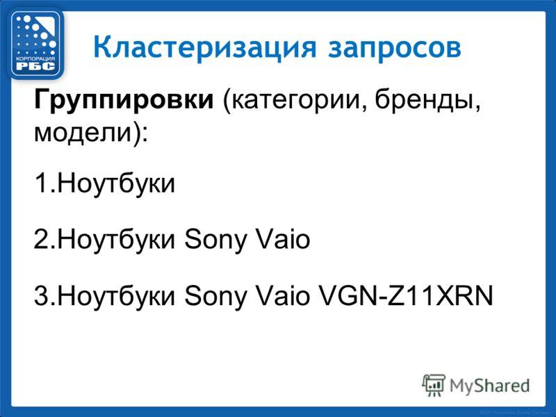 Кластеризация запросов Группировки (категории, бренды, модели): 1.Ноутбуки 2.Ноутбуки Sony Vaio 3.Ноутбуки Sony Vaio VGN-Z11XRN