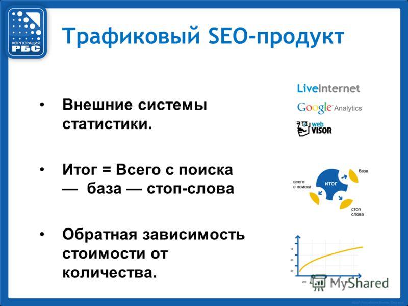 Трафиковый SEO-продукт Внешние системы статистики. Итог = Всего с поиска база стоп-слова Обратная зависимость стоимости от количества.