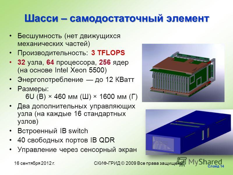 Шасси – самодостаточный элемент Бесшумность (нет движущихся механических частей) Производительность: 3 TFLOPS 32 узла, 64 процессора, 256 ядер (на основе Intel Xeon 5500) Энергопотребление до 12 КВатт Размеры: 6U (В) × 460 мм (Ш) × 1600 мм (Г) Два до