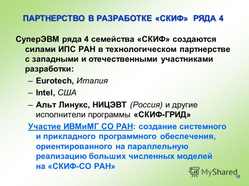 ПАРТНЕРСТВО В РАЗРАБОТКЕ «СКИФ» РЯДА 4 СуперЭВМ ряда 4 семейства «СКИФ» создаются силами ИПС РАН в технологическом партнерстве с западными и отечественными участниками разработки: –Eurotech, Италия –Intel, США –Альт Линукс, НИЦЭВТ (Россия) и другие и