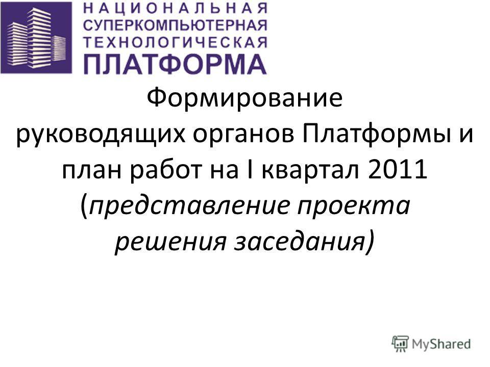 Формирование руководящих органов Платформы и план работ на I квартал 2011 (представление проекта решения заседания)
