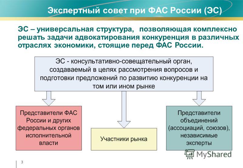 3 Экспертный совет при ФАС России (ЭС) ЭС – универсальная структура, позволяющая комплексно решать задачи адвокатирования конкуренция в различных отраслях экономики, стоящие перед ФАС России.