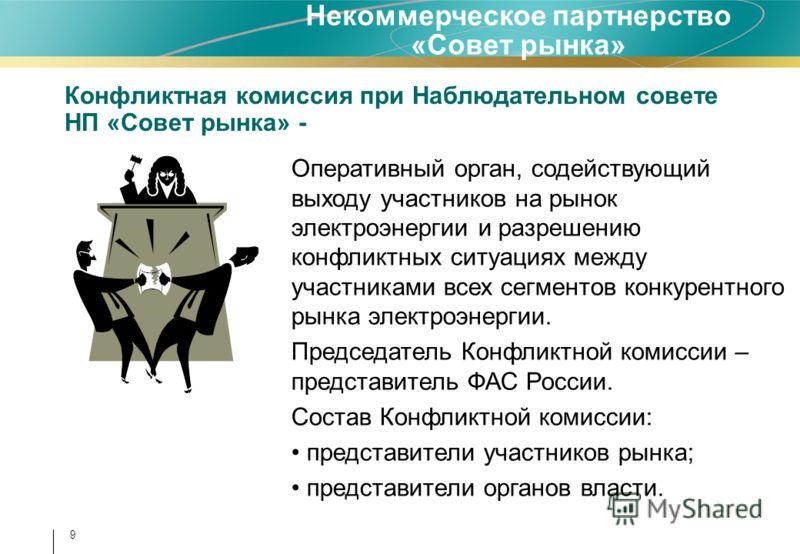 Конфликтная комиссия при Наблюдательном совете НП «Совет рынка» - Некоммерческое партнерство «Совет рынка» Оперативный орган, содействующий выходу участников на рынок электроэнергии и разрешению конфликтных ситуациях между участниками всех сегментов