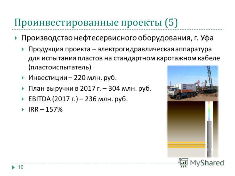 Проинвестированные проекты (5) Производство нефтесервисного оборудования, г. Уфа Продукция проекта – электрогидравлическая аппаратура для испытания пластов на стандартном каротажном кабеле ( пластоиспытатель ) Инвестиции – 220 млн. руб. План выручки