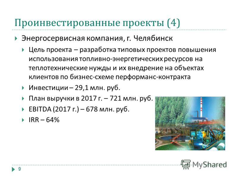 Проинвестированные проекты (4) Энергосервисная компания, г. Челябинск Цель проекта – разработка типовых проектов повышения использования топливно - энергетических ресурсов на теплотехнические нужды и их внедрение на объектах клиентов по бизнес - схем
