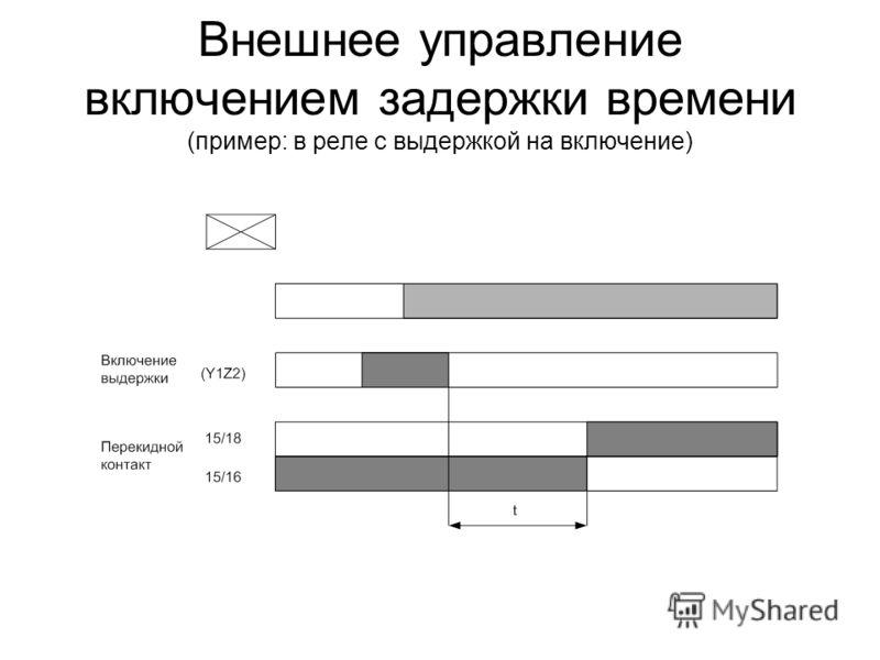 Внешнее управление включением задержки времени (пример: в реле с выдержкой на включение)