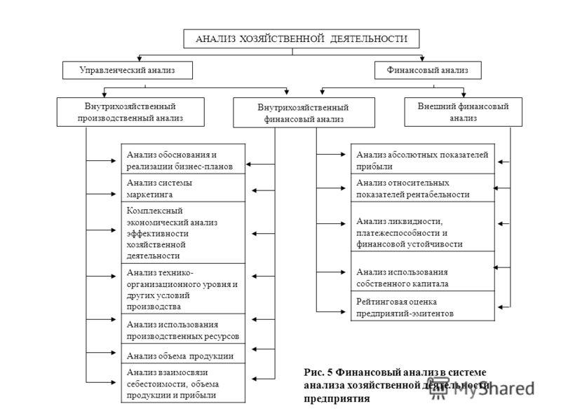 АНАЛИЗ ХОЗЯЙСТВЕННОЙ ДЕЯТЕЛЬНОСТИ Управленческий анализФинансовый анализ Внутрихозяйственный производственный анализ Внутрихозяйственный финансовый анализ Внешний финансовый анализ Анализ обоснования и реализации бизнес-планов Анализ системы маркетин