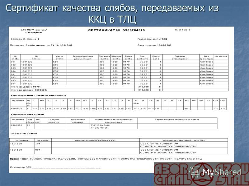 Сертификат качества слябов, передаваемых из ККЦ в ТЛЦ