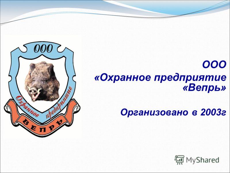 ООО «Охранное предприятие «Вепрь» Организовано в 2003г