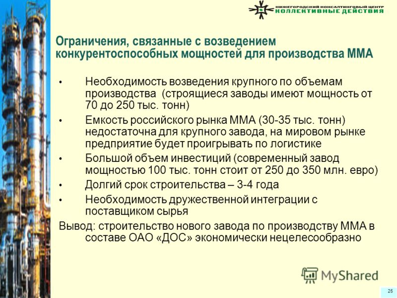 25 Ограничения, связанные с возведением конкурентоспособных мощностей для производства ММА Необходимость возведения крупного по объемам производства (строящиеся заводы имеют мощность от 70 до 250 тыс. тонн) Емкость российского рынка ММА (30-35 тыс. т