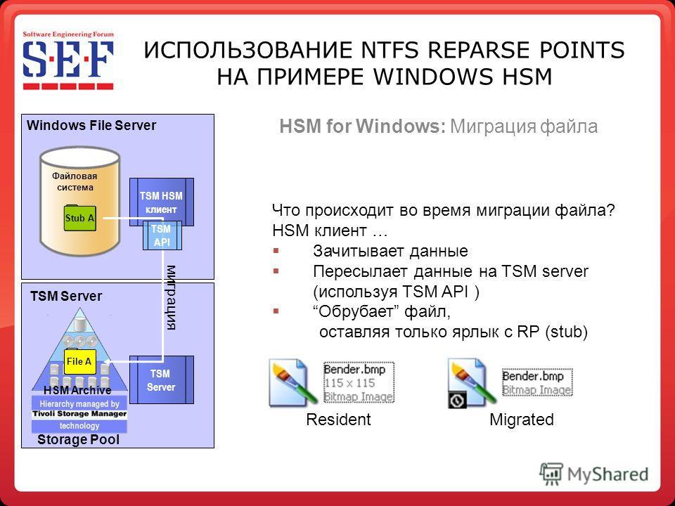Storage Pool HSM Archive Что происходит во время миграции файла? HSM клиент … Зачитывает данные Пересылает данные на TSM server (используя TSM API ) Обрубает файл, оставляя только ярлык с RP (stub) Файловая система File A Windows File Server TSM HSM