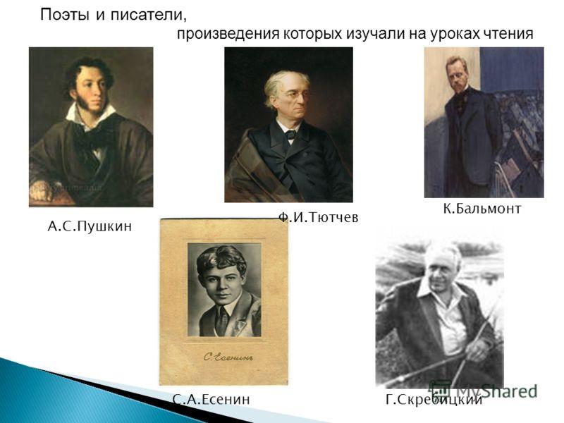 А.С.Пушкин Ф.И.Тютчев Г.СкребицкийС.А.Есенин К.Бальмонт Поэты и писатели, произведения которых изучали на уроках чтения