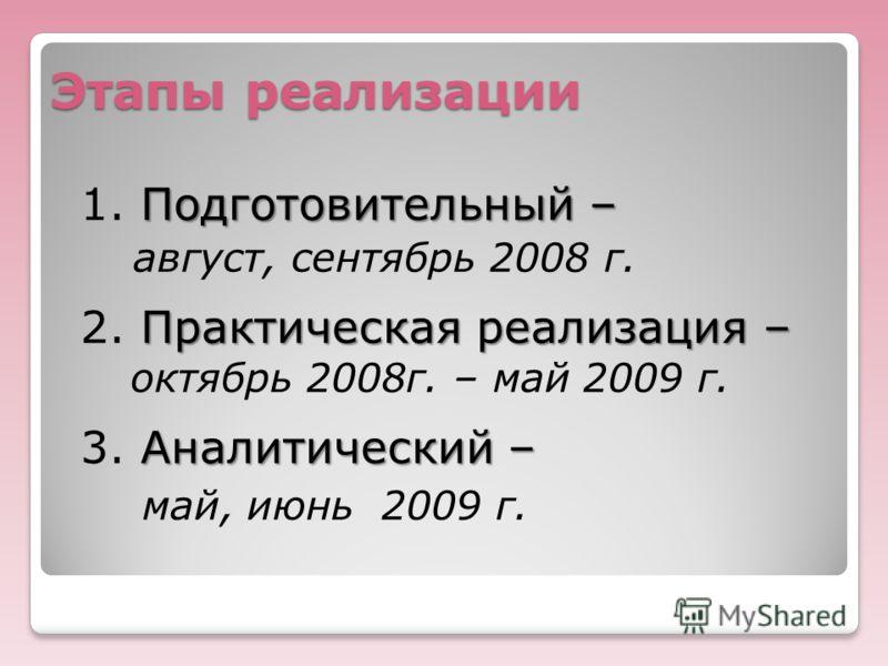 Этапы реализации Подготовительный– 1. Подготовительный – август, сентябрь 2008 г. Практическая реализация – 2. Практическая реализация – октябрь 2008г. – май 2009 г. Аналитический – 3. Аналитический – май, июнь 2009 г.
