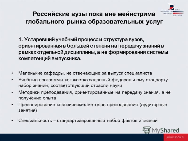 Российские вузы пока вне мейнстрима глобального рынка образовательных услуг 1. Устаревший учебный процесс и структура вузов, ориентированная в большей степени на передачу знаний в рамках отдельной дисциплины, а не формирования системы компетенций вып