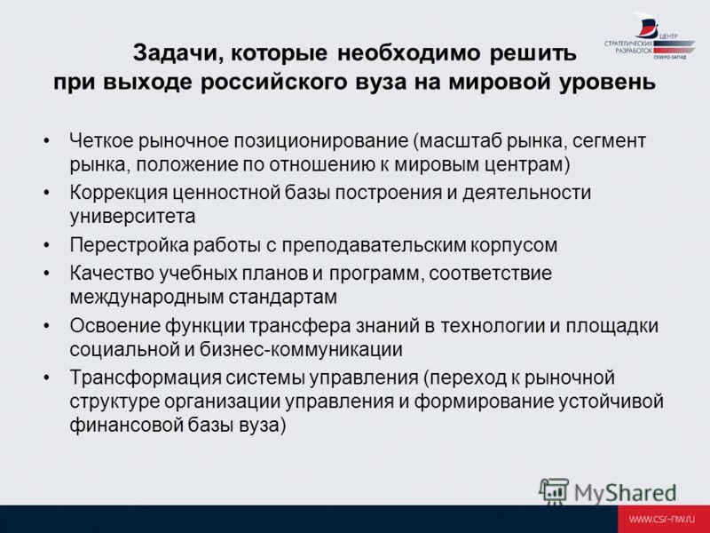 Задачи, которые необходимо решить при выходе российского вуза на мировой уровень Четкое рыночное позиционирование (масштаб рынка, сегмент рынка, положение по отношению к мировым центрам) Коррекция ценностной базы построения и деятельности университет