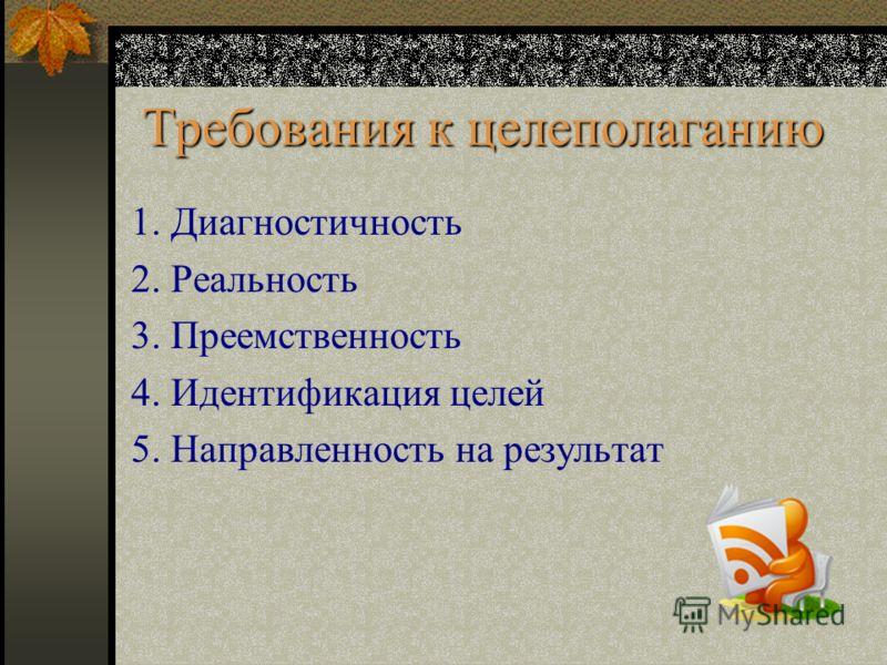 1. Диагностичность 2. Реальность 3. Преемственность 4. Идентификация целей 5. Направленность на результат