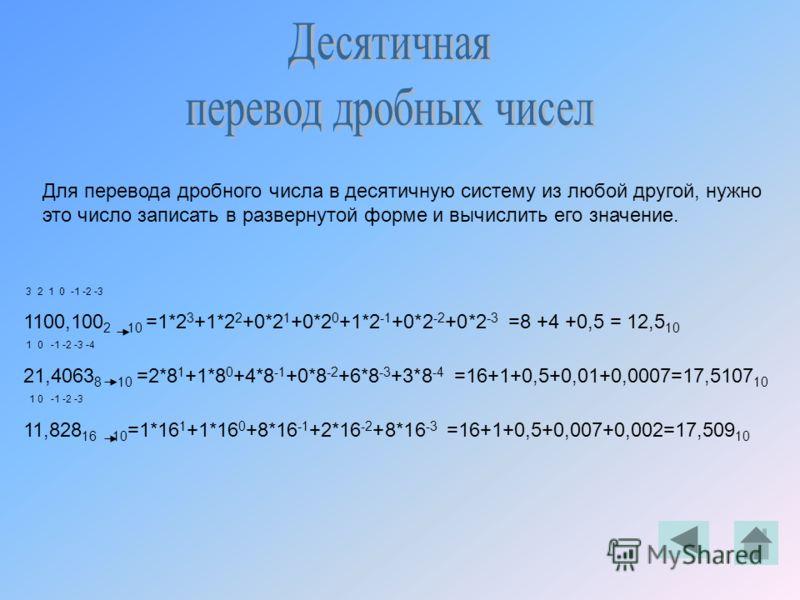 Для перевода дробного числа в десятичную систему из любой другой, нужно это число записать в развернутой форме и вычислить его значение. 3 2 1 0 -1 -2 -3 1100,100 2 10 =1*2 3 +1*2 2 +0*2 1 +0*2 0 +1*2 -1 +0*2 -2 +0*2 -3 =8 +4 +0,5 = 12,5 10 1 0 -1 -2