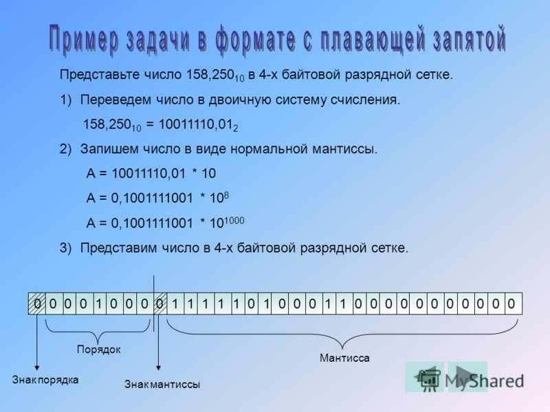 Представьте число 158,250 10 в 4-х байтовой разрядной сетке. 1)Переведем число в двоичную систему счисления. 158,250 10 = 10011110,01 2 2)Запишем число в виде нормальной мантиссы. А = 10011110,01 * 10 А = 0,1001111001 * 10 8 А = 0,1001111001 * 10 100