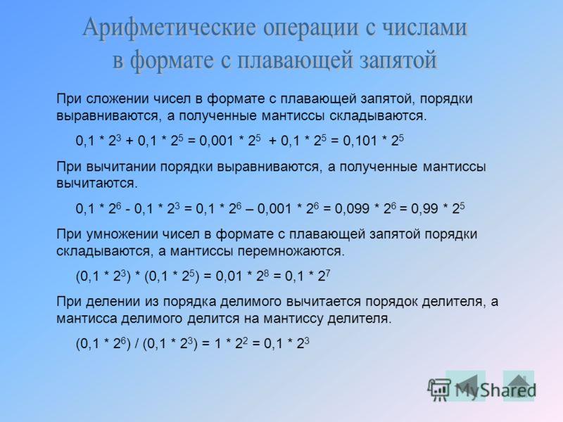 При сложении чисел в формате с плавающей запятой, порядки выравниваются, а полученные мантиссы складываются. 0,1 * 2 3 + 0,1 * 2 5 = 0,001 * 2 5 + 0,1 * 2 5 = 0,101 * 2 5 При вычитании порядки выравниваются, а полученные мантиссы вычитаются. 0,1 * 2