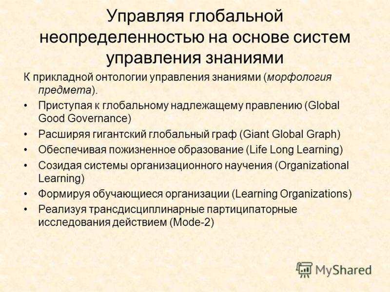 Управляя глобальной неопределенностью на основе систем управления знаниями К прикладной онтологии управления знаниями (морфология предмета). Приступая к глобальному надлежащему правлению (Global Good Governance) Расширяя гигантский глобальный граф (G