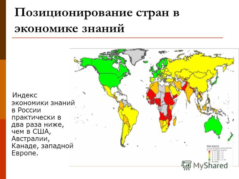 Позиционирование стран в экономике знаний Индекс экономики знаний в России практически в два раза ниже, чем в США, Австралии, Канаде, западной Европе.