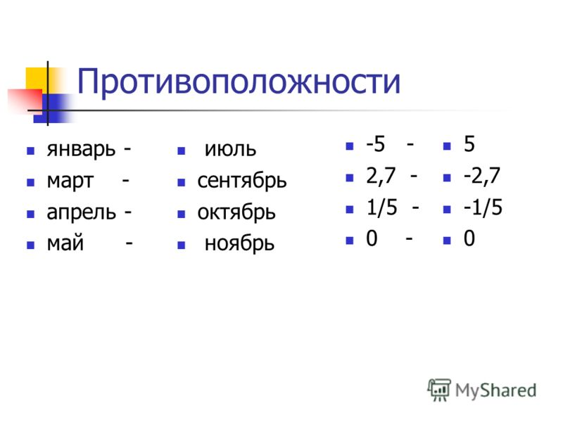 Противоположности январь - март - апрель - май - -5 - 2,7 - 1/5 - 0 - июль сентябрь октябрь ноябрь 5 -2,7 -1/5 0