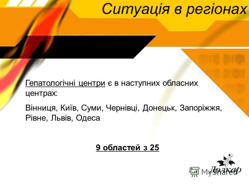 Ситуація в регіонах Гепатологічні центри є в наступних обласних центрах: Вінниця, Київ, Суми, Чернівці, Донецьк, Запоріжжя, Рівне, Львів, Одеса 9 областей з 25