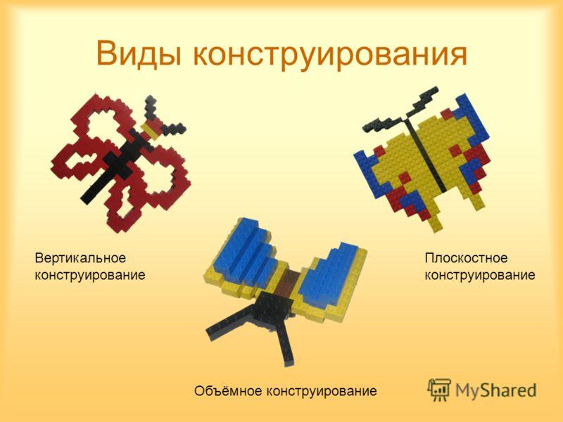 Виды конструирования Вертикальное конструирование Плоскостное конструирование Объёмное конструирование