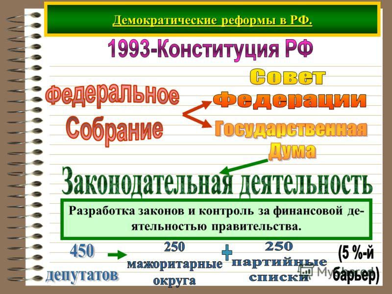 Демократические реформы в РФ. Разработка законов и контроль за финансовой де- ятельностью правительства.