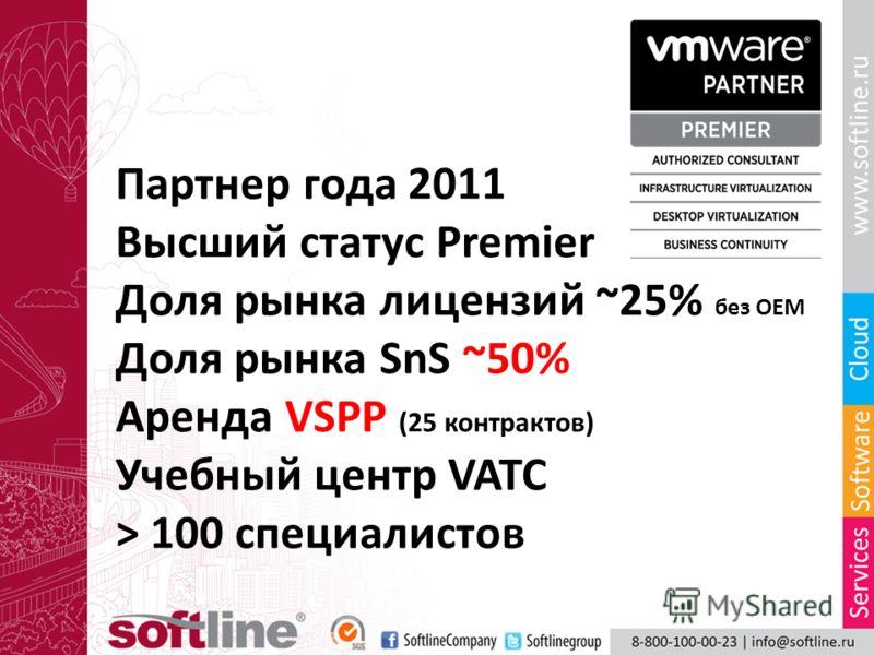 Партнер года 2011 Высший статус Premier Доля рынка лицензий ~25% без OEM Доля рынка SnS ~50% Аренда VSPP (25 контрактов) Учебный центр VATC > 100 специалистов