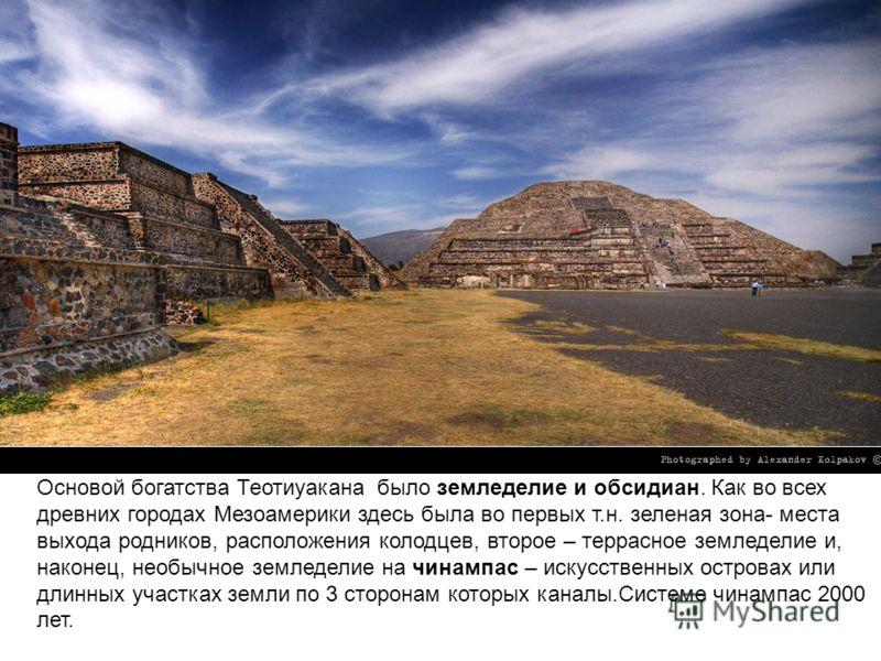 Основой богатства Теотиуакана было земледелие и обсидиан. Как во всех древних городах Мезоамерики здесь была во первых т.н. зеленая зона- места выхода родников, расположения колодцев, второе – террасное земледелие и, наконец, необычное земледелие на