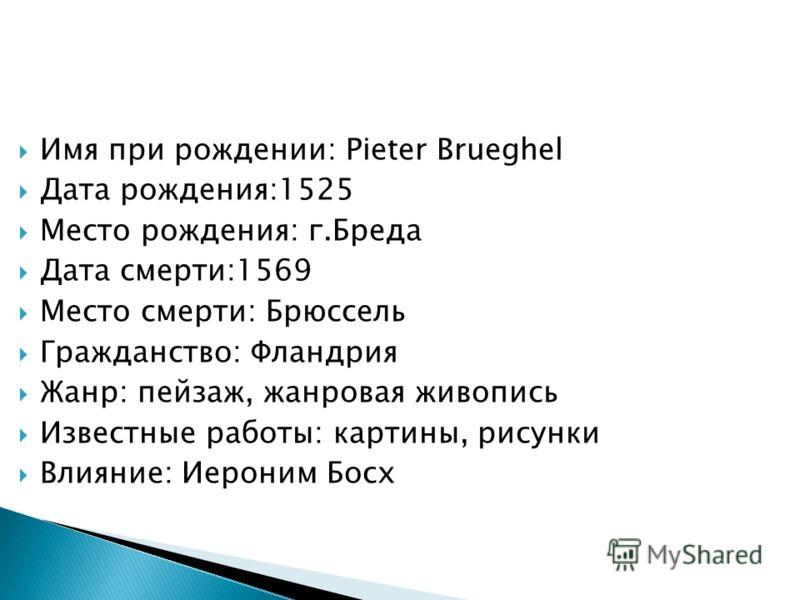 Имя при рождении: Pieter Brueghel Дата рождения:1525 Место рождения: г.Бреда Дата смерти:1569 Место смерти: Брюссель Гражданство: Фландрия Жанр: пейзаж, жанровая живопись Известные работы: картины, рисунки Влияние: Иероним Босх