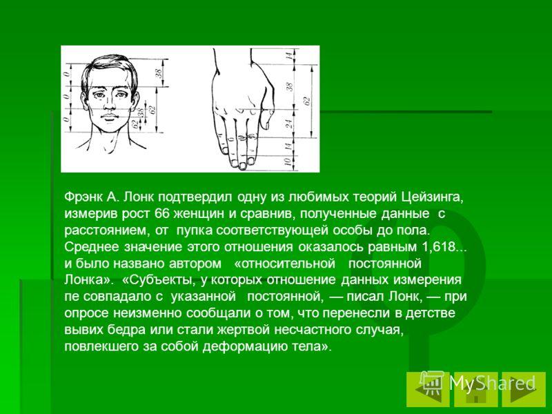 φ Фрэнк А. Лонк подтвердил одну из любимых теорий Цейзинга, измерив рост 66 женщин и сравнив, полученные данные с расстоянием, от пупка соответствующе