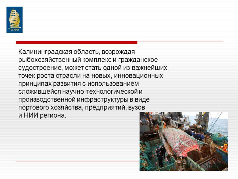 Калининградская область, возрождая рыбохозяйственный комплекс и гражданское судостроение, может стать одной из важнейших точек роста отрасли на новых, инновационных принципах развития с использованием сложившейся научно-технологической и производстве