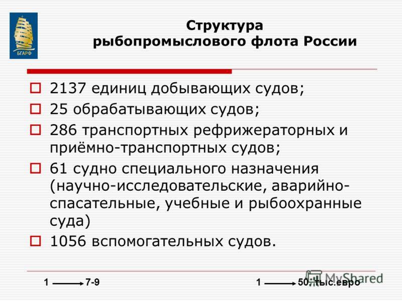 Структура рыбопромыслового флота России 2137 единиц добывающих судов; 25 обрабатывающих судов; 286 транспортных рефрижераторных и приёмно-транспортных судов; 61 судно специального назначения (научно-исследовательские, аварийно- спасательные, учебные