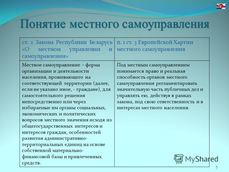 Понятие местного самоуправления 5 ст. 1 Закона Республики Беларусь «О местном управлении и самоуправлении» п. 1 ст. 3 Европейской Хартии местного самоуправления Местное самоуправление – форма организации и деятельности населения, проживающего на соот