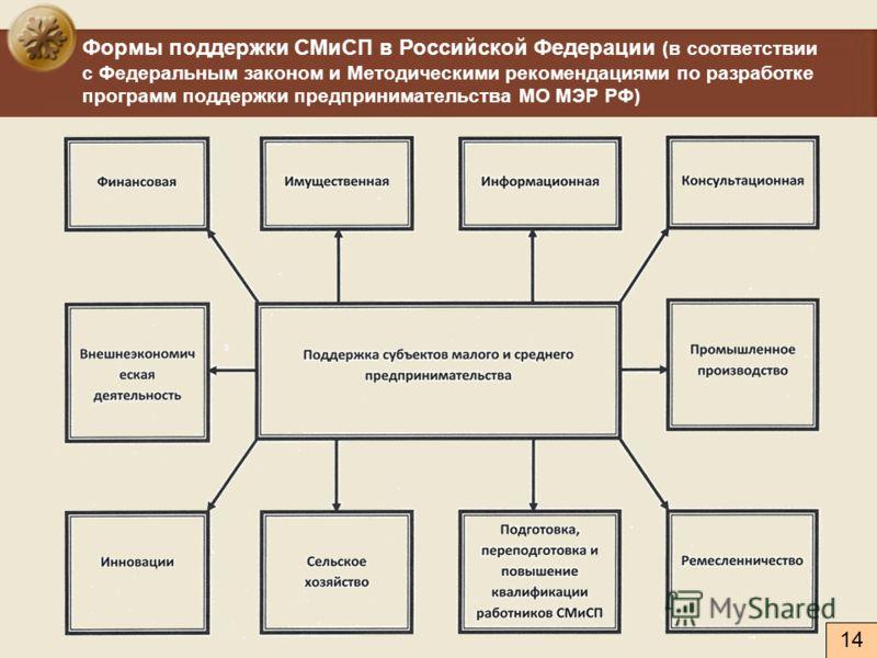 Формы поддержки СМиСП в Российской Федерации (в соответствии с Федеральным законом и Методическими рекомендациями по разработке программ поддержки предпринимательства МО МЭР РФ) 14