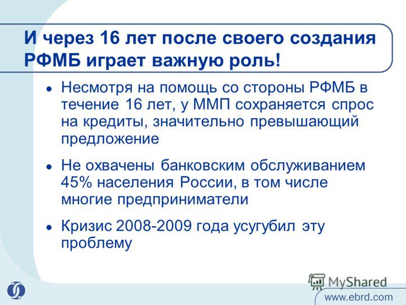 И через 16 лет после своего создания РФМБ играет важную роль! Несмотря на помощь со стороны РФМБ в течение 16 лет, у ММП сохраняется спрос на кредиты, значительно превышающий предложение Не охвачены банковским обслуживанием 45% населения России, в то