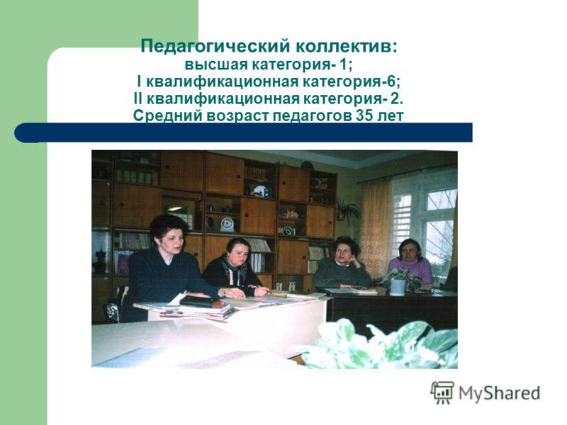 Педагогический коллектив: высшая категория- 1; I квалификационная категория-6; II квалификационная категория- 2. Средний возраст педагогов 35 лет